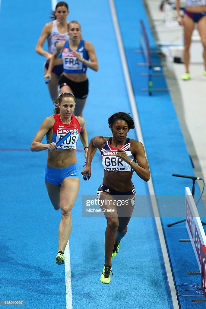 Perri Shakes-Drayton of Great Britain and Northern Ireland sprints to the finish line ahead of Ksenia Zadorina of Russia to win gold in the Women's 4x400m Relay Final during day three of European Indoor Athletics at Scandinavium on March 3, 2013 in Gothenburg, Sweden.
