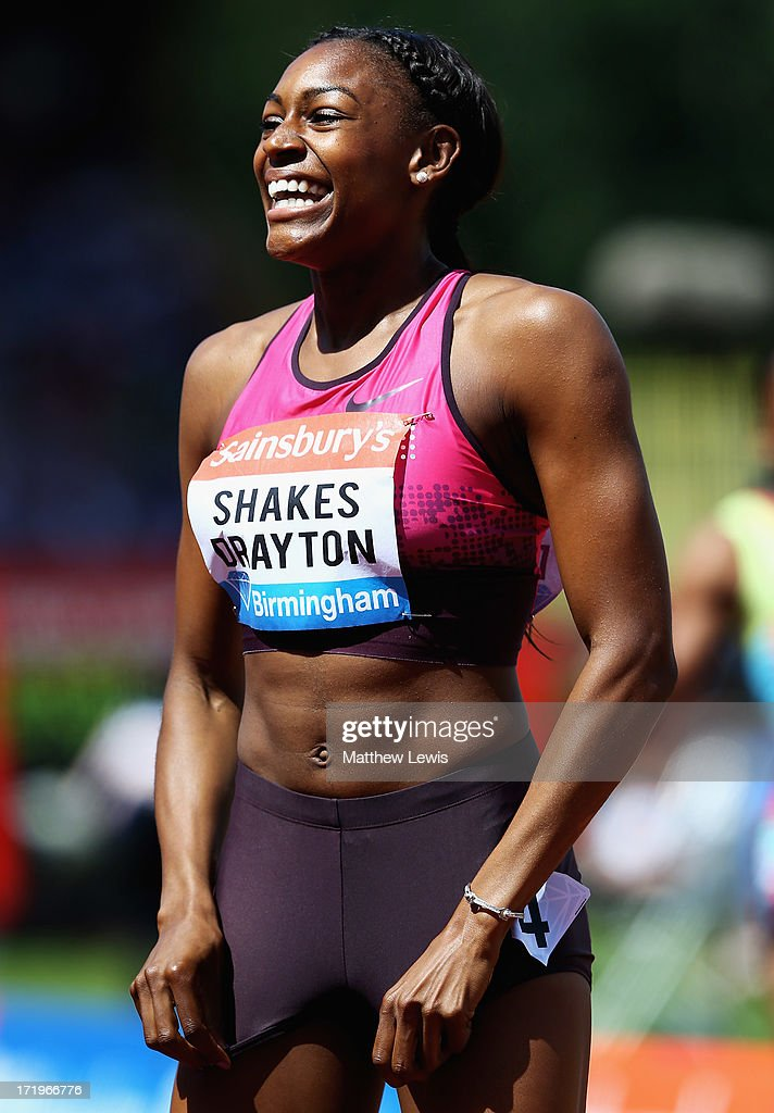 Perri Shakes-Drayton of Great Britain celebrates winning the womens 400m Hurdles during the Sainsbury's Grand Prix Birmingham IAAF Diamond League at Alexander Stadium on June 30, 2013 in Birmingham, England.
