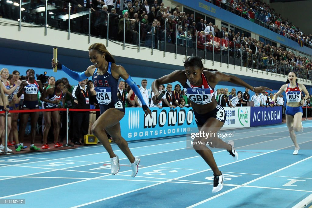 <a gi-track='captionPersonalityLinkClicked' href=/galleries/search?phrase=Perri+Shakes-Drayton&family=editorial&specificpeople=4542235 ng-click='$event.stopPropagation()'>Perri Shakes-Drayton</a> of Great Britain crosses the line ahead of <a gi-track='captionPersonalityLinkClicked' href=/galleries/search?phrase=Sanya+Richards&family=editorial&specificpeople=239062 ng-click='$event.stopPropagation()'>Sanya Richards</a>-Ross of the United States to win gold in the Women's 4x400 Metres Final during day three of the 14th IAAF World Indoor Championships at the Atakoy Athletics Arena on March 11, 2012 in Istanbul, Turkey.