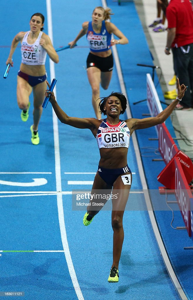 <a gi-track='captionPersonalityLinkClicked' href=/galleries/search?phrase=Perri+Shakes-Drayton&family=editorial&specificpeople=4542235 ng-click='$event.stopPropagation()'>Perri Shakes-Drayton</a> of Great Britain crosses the line to win gold in the Women's 4x400m Relay Final during day three of European Indoor Athletics at Scandinavium on March 3, 2013 in Gothenburg, Sweden.