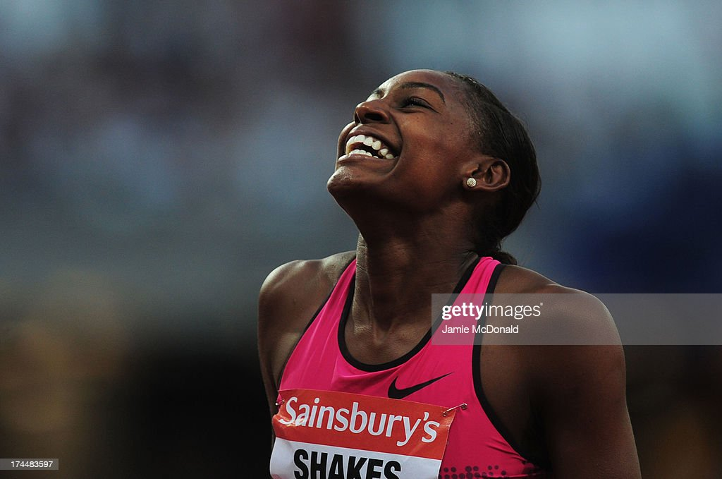 <a gi-track='captionPersonalityLinkClicked' href=/galleries/search?phrase=Perri+Shakes-Drayton&family=editorial&specificpeople=4542235 ng-click='$event.stopPropagation()'>Perri Shakes-Drayton</a> of Great Britain reacts after competing in the Women's 400m Hurdleson day one during the Sainsbury's Anniversary Games - IAAF Diamond League 2013 at The Queen Elizabeth Olympic Park on July 26, 2013 in London, England.