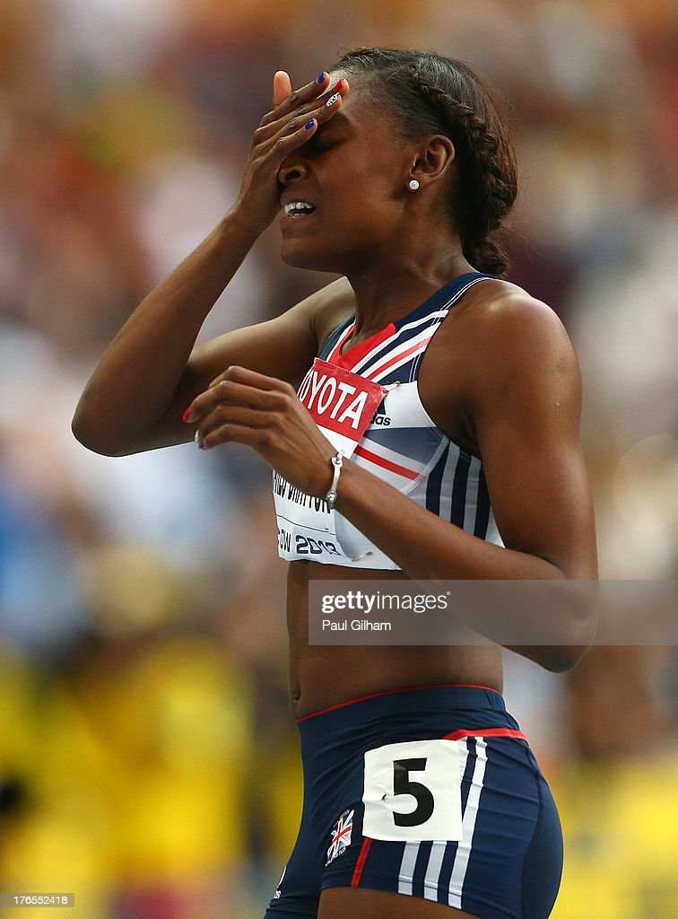 <a gi-track='captionPersonalityLinkClicked' href=/galleries/search?phrase=Perri+Shakes-Drayton&family=editorial&specificpeople=4542235 ng-click='$event.stopPropagation()'>Perri Shakes-Drayton</a> of Great Britain reacts after the Women's 400 metres hurdles final during Day Six of the 14th IAAF World Athletics Championships Moscow 2013 at Luzhniki Stadium on August 15, 2013 in Moscow, Russia.
