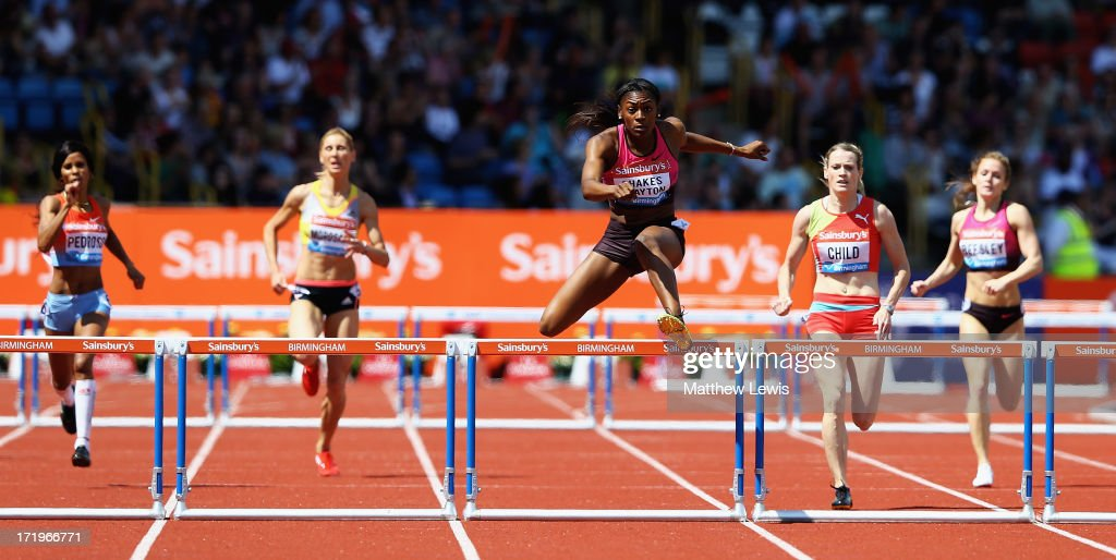 Perri Shakes-Drayton of Great Britain wins the womens 400m Hurdles during the Sainsbury's Grand Prix Birmingham IAAF Diamond League at Alexander Stadium on June 30, 2013 in Birmingham, England.