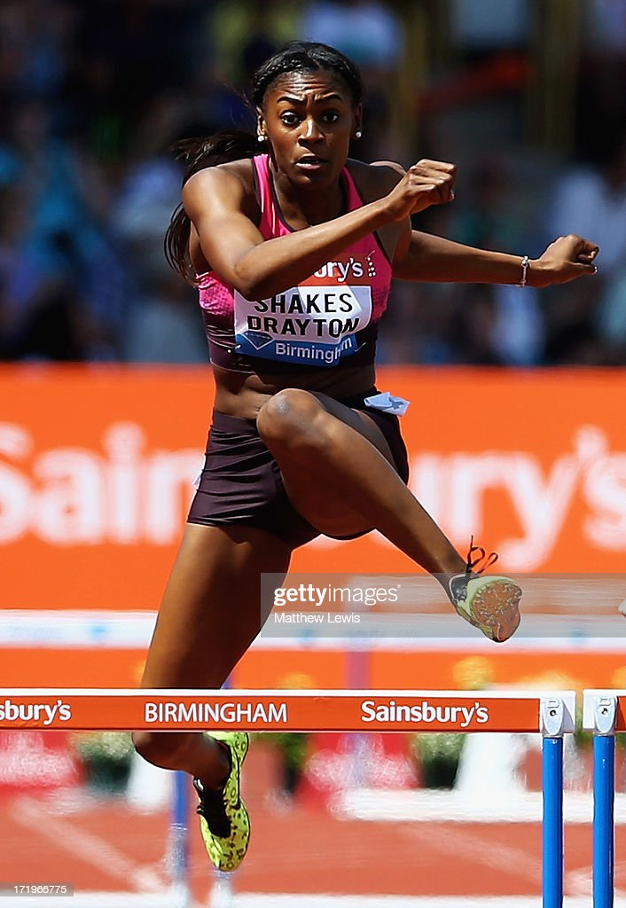 <a gi-track='captionPersonalityLinkClicked' href=/galleries/search?phrase=Perri+Shakes-Drayton&family=editorial&specificpeople=4542235 ng-click='$event.stopPropagation()'>Perri Shakes-Drayton</a> of Great Britain wins the womens 400m Hurdles during the Sainsbury's Grand Prix Birmingham IAAF Diamond League at Alexander Stadium on June 30, 2013 in Birmingham, England.