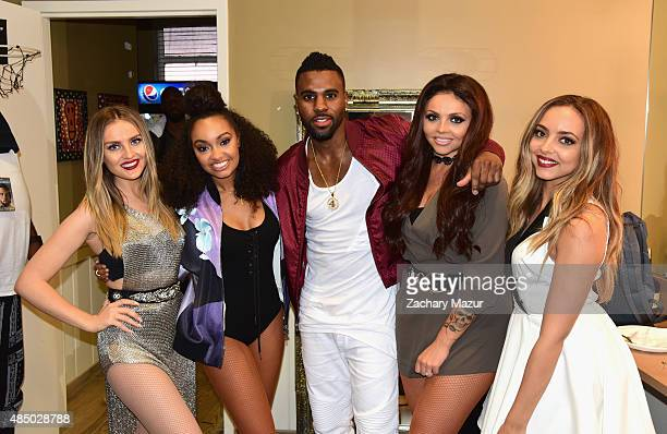 Perrie Edwards and LeighAnne Pinnock of Little Mix Jason Derulo Jesy Nelson and Jade Thirlwall of Little Mix pose backstage at Nikon at Jones Beach...