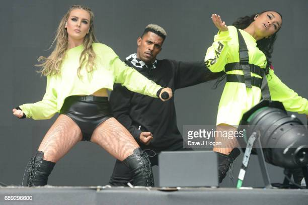 Perrie Edwards and LeighAnne Pinnock of the band Little Mix attend Day 2 of BBC Radio 1's Big Weekend 2017 at Burton Constable Hall on May 28 2017 in...