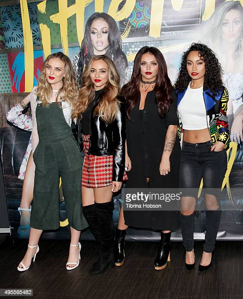 Perrie Edwards Jade Thirlwall Jesy Nelson and LeighAnne Pinnock of Little Mix attend their Los Angeles album signing at Hard Rock Cafe Hollywood CA...