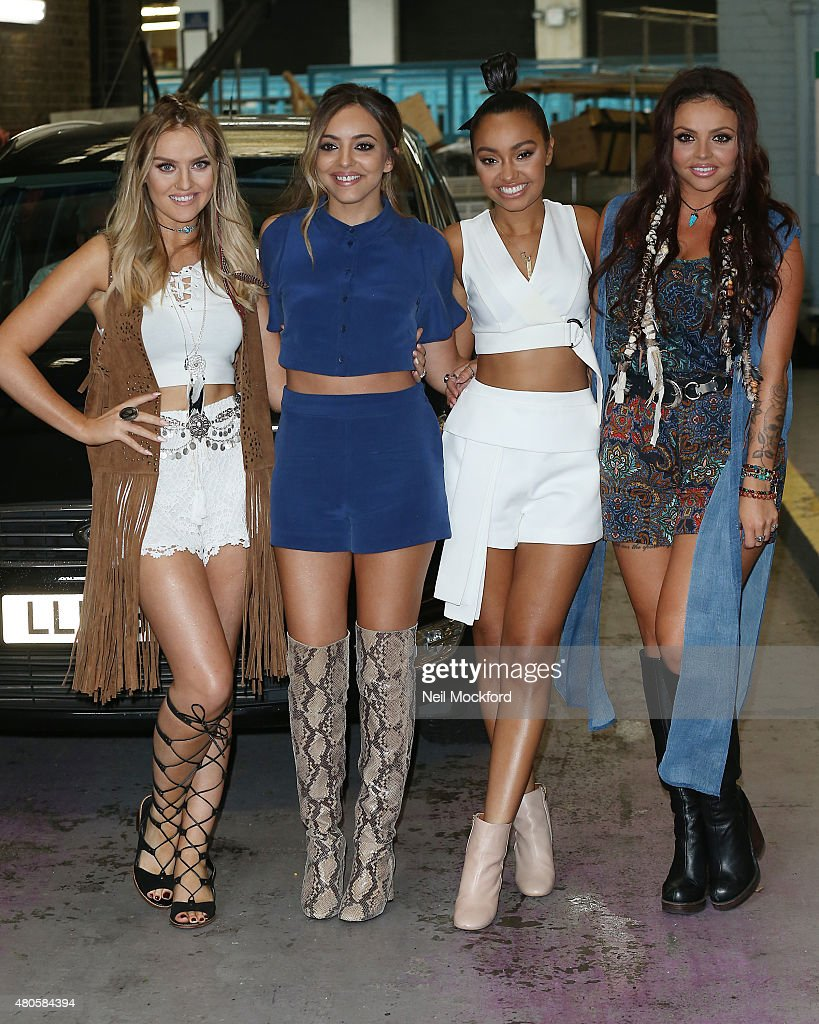 Perrie Edwards Jade Thirlwall LeighAnne Pinnock and Jesy Nelson of Little Mix seen leaving the ITV Studios on July 13 2015 in London England