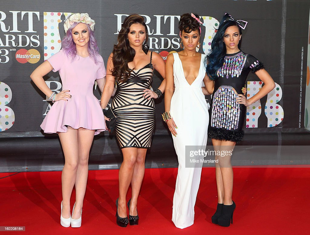 Perrie Edwards, Jesy Nelson, Leigh-Anne Pinnock and Jade Thirlwall of Little Mix attend the Brit Awards at 02 Arena on February 20, 2013 in London, England.