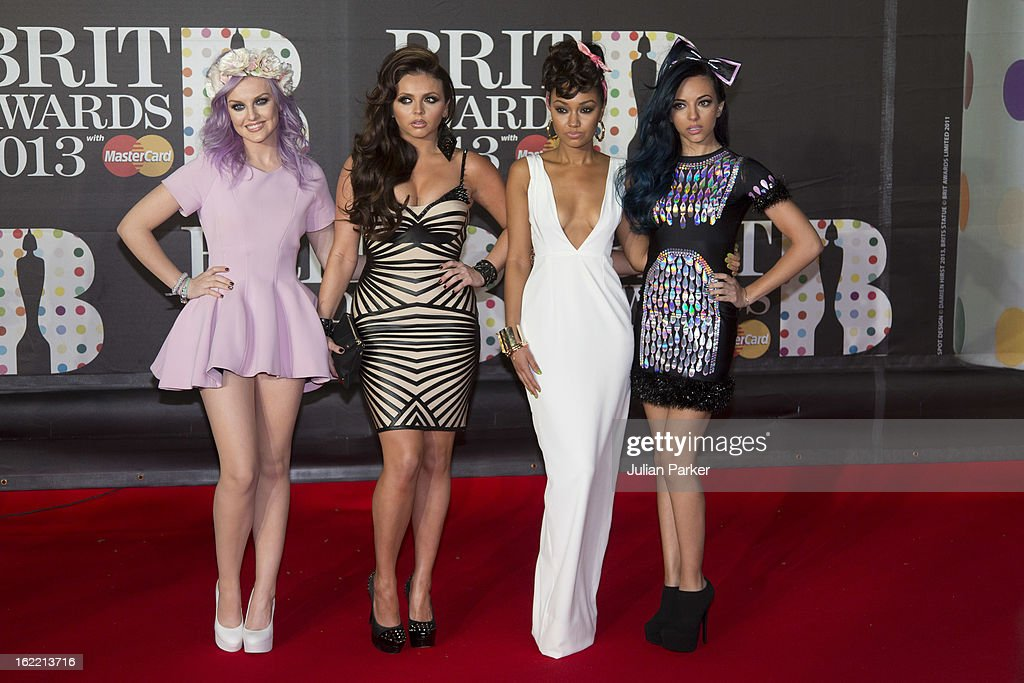 Perrie Edwards, Jesy Nelson, Leigh-Anne Pinnock and Jade Thirlwall of Little Mix, attend the Brit Awards 2013 at the 02 Arena on February 20, 2013 in London, England.