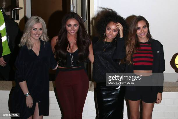 Perrie Edwards Jesy Nelson LeighAnne Pinnock and Jade Thirlwall leaving Fountain Studios after filming the X Factor live show on October 26 2013 in...