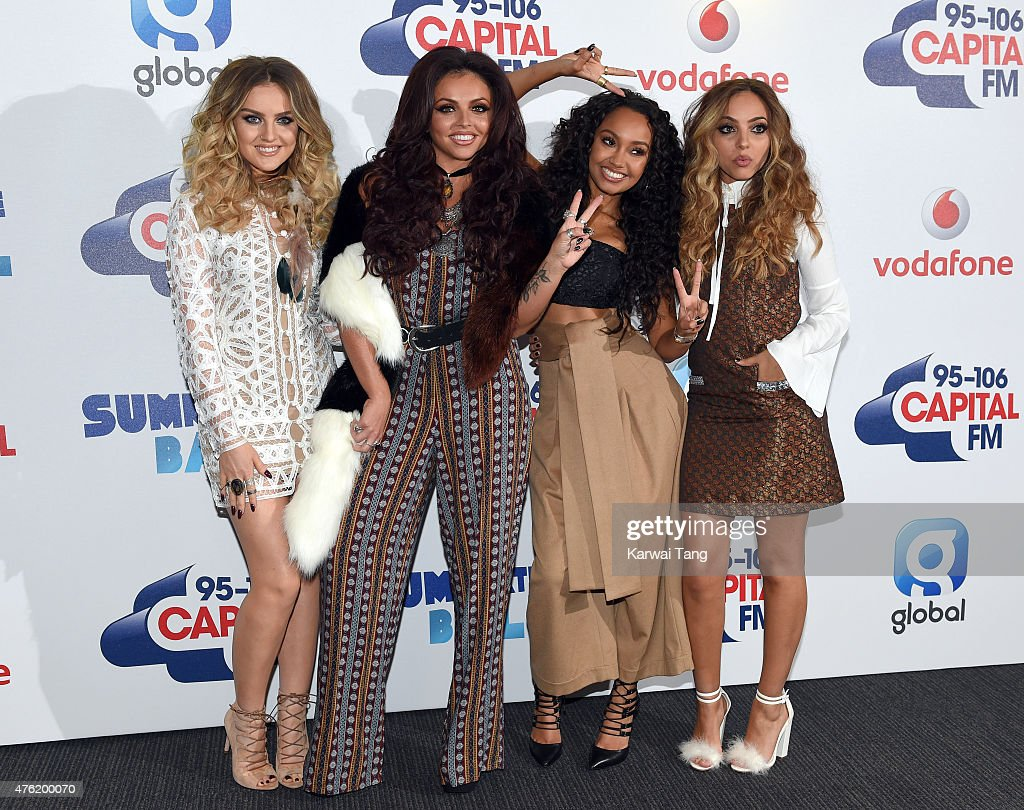 Perrie Edwards, Jesy Nelson, Leigh-Anne Pinnock and Jade Thirlwall attend the Capital FM Summertime Ball at Wembley Stadium on June 6, 2015 in London, England.