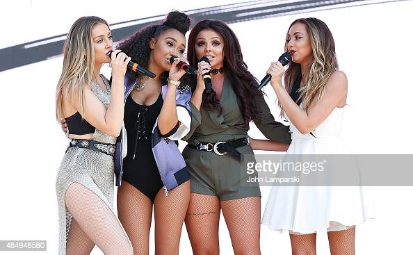 Perrie Edwards Leigh AnnePinnock Jesy Nelson and Jade Thirlwall of Little Mix perform during day 1 at 2015 Billboard Hot 100 Music Festival at Nikon...