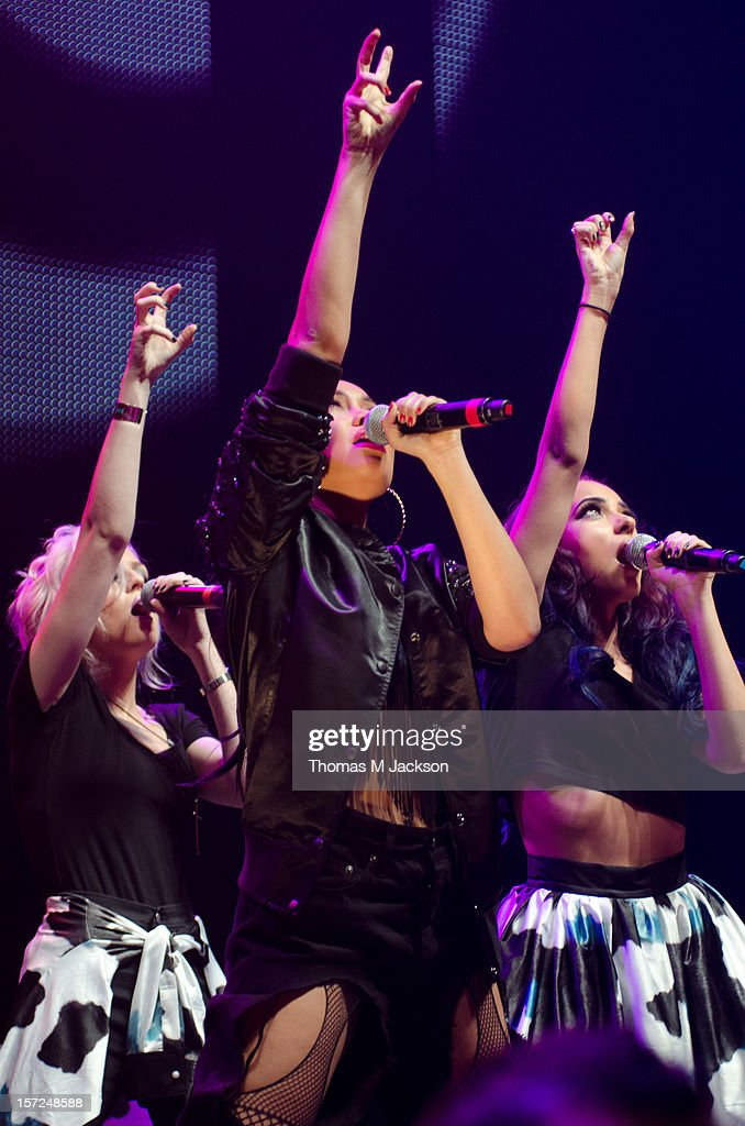 Perrie Edwards, Leigh-Anne Pinnock and Jade Thirlwall performs onstage at Metro Radio Live 2012 at Metro Radio Arena on November 30, 2012 in Newcastle upon Tyne, England.
