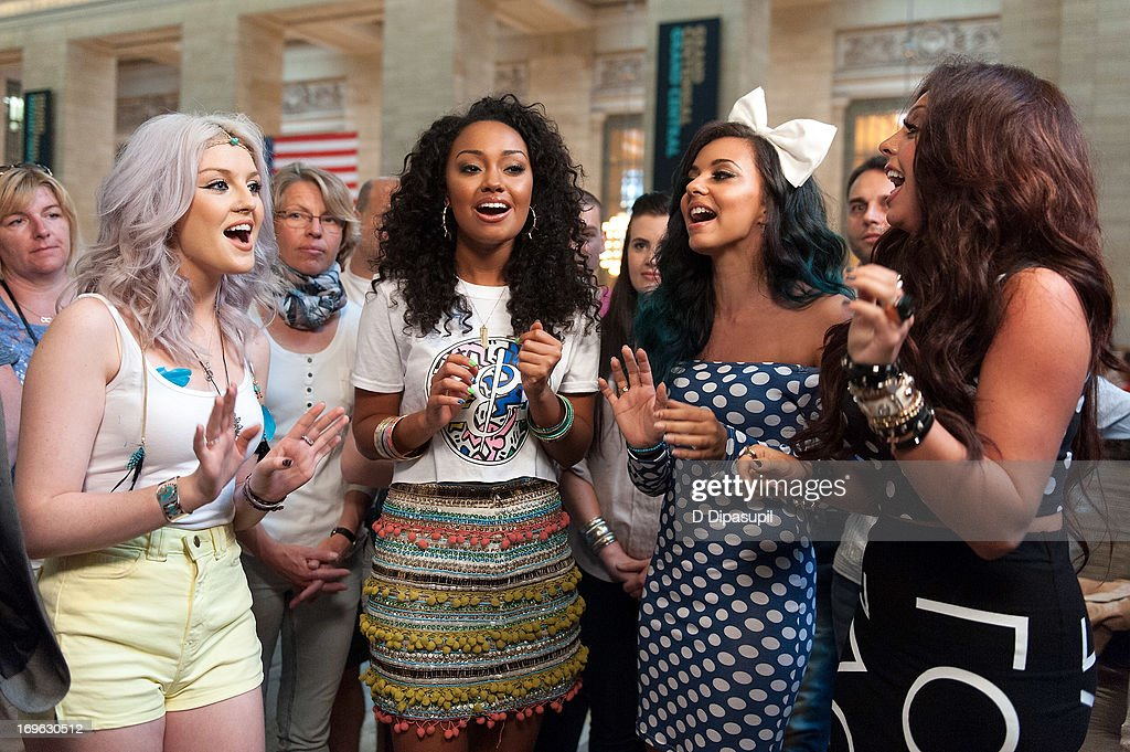 <a gi-track='captionPersonalityLinkClicked' href=/galleries/search?phrase=Perrie+Edwards&family=editorial&specificpeople=8378323 ng-click='$event.stopPropagation()'>Perrie Edwards</a>, <a gi-track='captionPersonalityLinkClicked' href=/galleries/search?phrase=Leigh-Anne+Pinnock&family=editorial&specificpeople=8378207 ng-click='$event.stopPropagation()'>Leigh-Anne Pinnock</a>, <a gi-track='captionPersonalityLinkClicked' href=/galleries/search?phrase=Jade+Thirlwall&family=editorial&specificpeople=8378191 ng-click='$event.stopPropagation()'>Jade Thirlwall</a>, and <a gi-track='captionPersonalityLinkClicked' href=/galleries/search?phrase=Jesy+Nelson+-+Little+Mix&family=editorial&specificpeople=8378192 ng-click='$event.stopPropagation()'>Jesy Nelson</a> of Little Mix visit 'Extra' at Michael Jordan's The Steak House N.Y.C. in Grand Central Terminal on May 29, 2013 in New York City.