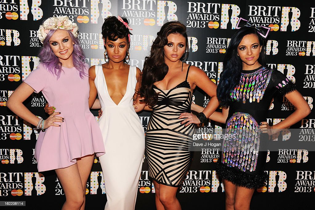 Perrie Edwards, Leigh-Anne Pinnock, Jesy Nelson and Jade Thirlwall of Little Mix attend The Brit Awards 2013 at The O2 Arena on February 20, 2013 in London, England.