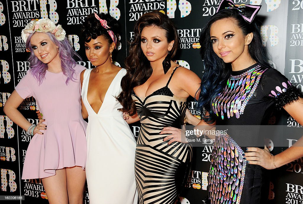 Perrie Edwards, Leigh-Anne Pinnock, Jesy Nelson and Jade Thirlwall of Little Mix arrive at the BRIT Awards 2013 at the O2 Arena on February 20, 2013 in London, England.