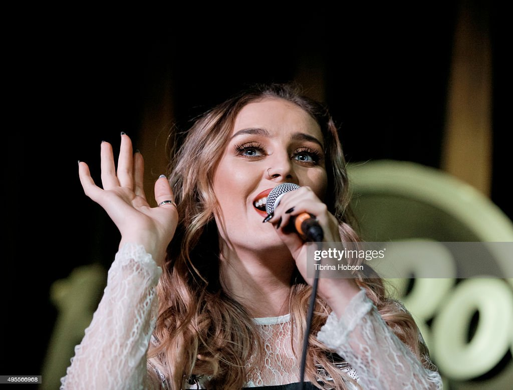 Perrie Edwards of Little Mix performs at the Los Angeles album signing for Little Mix at Hard Rock Cafe Hollywood CA on November 3 2015 in Hollywood...