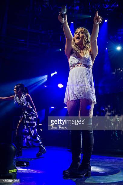 Perrie Edwards of Little Mix performs at The Roundhouse on September 22 2015 in London England