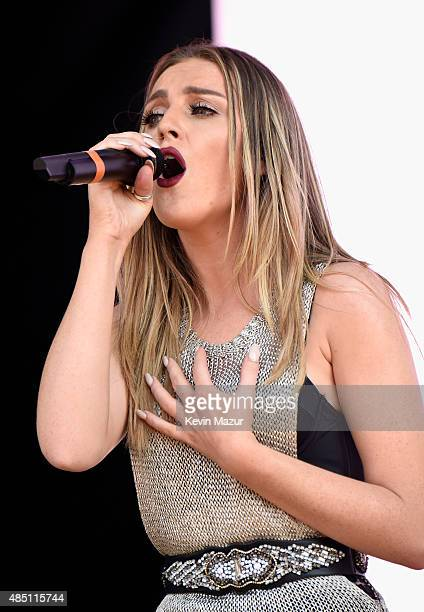 Perrie Edwards of Little Mix performs during Billboard Hot 100 Festival Day 1 at Nikon at Jones Beach Theater on August 22 2015 in Wantagh New York