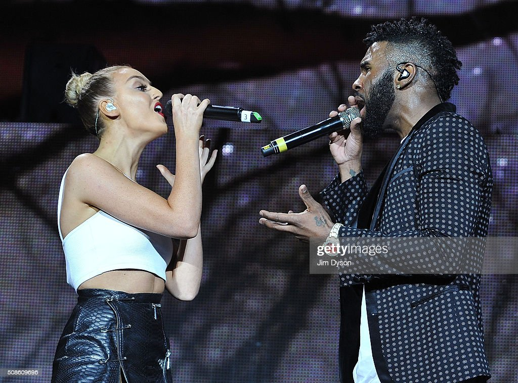 <a gi-track='captionPersonalityLinkClicked' href=/galleries/search?phrase=Perrie+Edwards&family=editorial&specificpeople=8378323 ng-click='$event.stopPropagation()'>Perrie Edwards</a> of Little Mix performs live on stage with <a gi-track='captionPersonalityLinkClicked' href=/galleries/search?phrase=Jason+Derulo&family=editorial&specificpeople=5745869 ng-click='$event.stopPropagation()'>Jason Derulo</a> at the O2 Arena on February 5, 2016 in London, England.