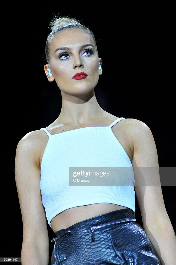 Perrie Edwards of Little Mix performs on stage at The O2 Arena on February 5 2016 in London England