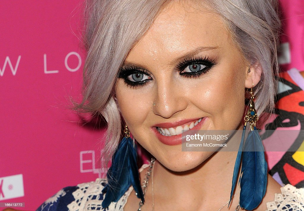 Perrie Edwards of Little Mix poses at a photocall to launch their collection of press on nails for New Look at Westfield on April 12, 2013 in London, England.