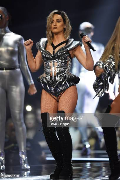 ONLY Perrie Edwards of the band Little Mix performs on stage at The BRIT Awards 2017 at The O2 Arena on February 22 2017 in London England