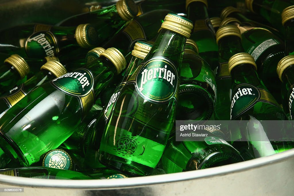Perrier products on display at Hellessy Fall/Winter 2016 at Affirmation Arts on February 11, 2016 in New York City.