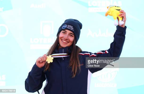 Perrine Laffont of France poses with the gold medal after the Women's Dual Moguls on day two of the FIS Freestyle Ski and Snowboard World...