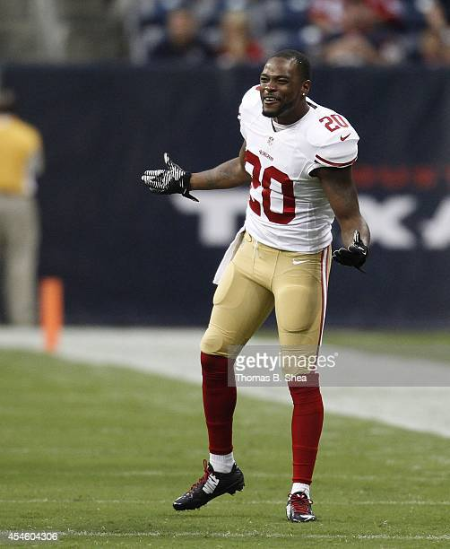 Perrish Cox of the San Francisco 49ers before a preseason NFL game between the Houston Texans and the San Francisco 49ers on August 28 2014 at NRG...