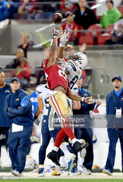 Perrish Cox of the San Francisco 49ers breaks up this pass intended for Malcom Floyd of the San Diego Chargers at Levi's Stadium on December 20 2014...