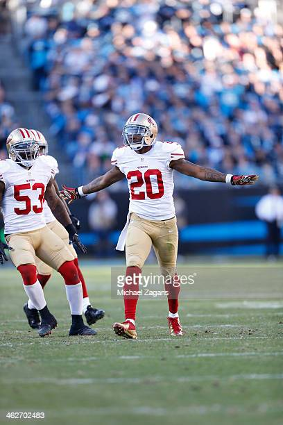 Perrish Cox of the San Francisco 49ers celebrates after defending on a pass during the game against the Carolina Panthers at Bank of America Stadium...