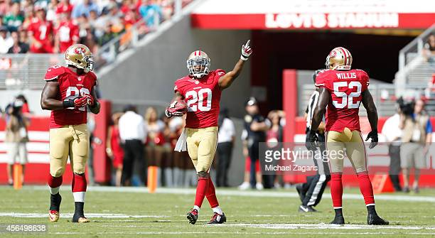 Perrish Cox of the San Francisco 49ers celebrates on the field during the game against the Philadelphia Eagles at Levi Stadium on September 28 2014...