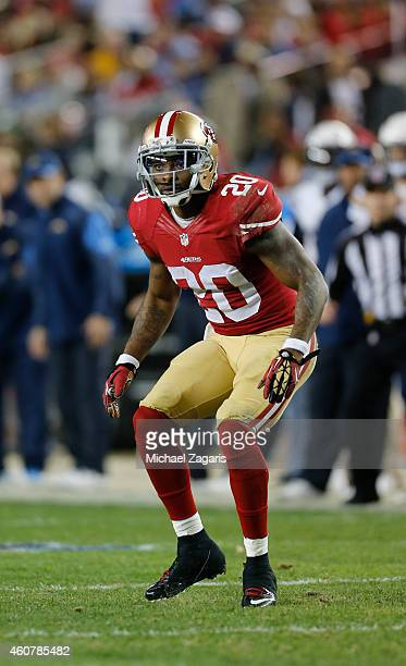 Perrish Cox of the San Francisco 49ers defends during the game against the San Diego Chargers at Levi Stadium on December 20 2014 in Santa Clara...