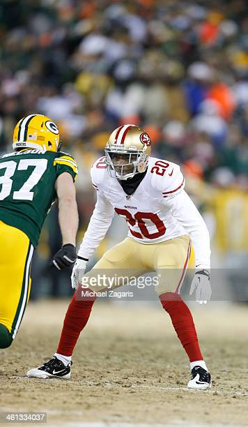 Perrish Cox of the San Francisco 49ers defends during the game against the Green Bay Packers at Lambeau Field on January 5 2014 in Green Bay...