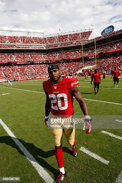 Perrish Cox of the San Francisco 49ers heads to the bench during halftime of the game against the Philadelphia Eagles at Levi Stadium on September 28...
