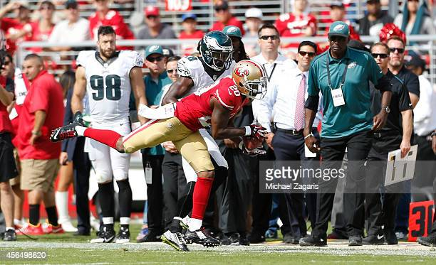 Perrish Cox of the San Francisco 49ers intercepts a pass but is ruled out of bounds during the game against the Philadelphia Eagles at Levi Stadium...