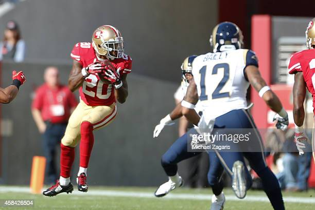 Perrish Cox of the San Francisco 49ers intercepts a pass during the game against the St Louis Rams at Levi Stadium on November 2 2014 in Santa Clara...