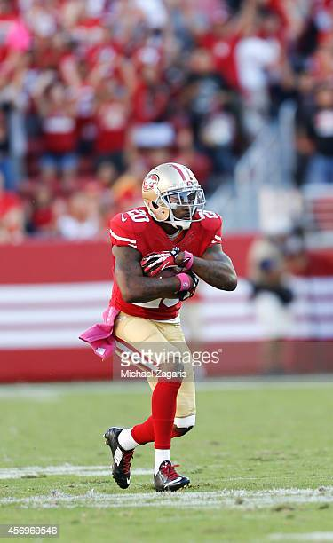 Perrish Cox of the San Francisco 49ers intercepts a pass to seal a victory during the game against the Kansas City Chiefs at Levi Stadium on October...