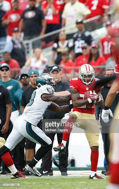 Perrish Cox of the San Francisco 49ers intercepts a pass to seal the victory during the game against the Philadelphia Eagles at Levi Stadium on...
