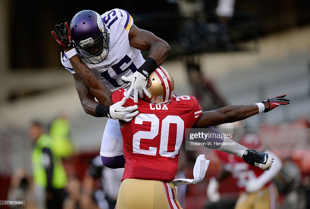 Perrish Cox #20 of the San Francisco 49ers is called for pass interference in the endzone on Greg Jennings #15 of the Minnesota Vikings in the second quarter at Candlestick Park on August 25, 2013 in San Francisco, California. The ball was placed on the one yard line after the penalty.