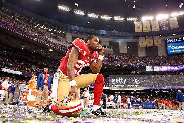 Perrish Cox of the San Francisco 49ers looks on dejected after the Baltimore Ravens won 3431 during Super Bowl XLVII at the MercedesBenz Superdome on...