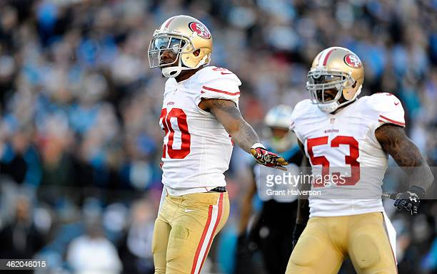 Perrish Cox of the San Francisco 49ers reacts after a play in the fourth quarter against the Carolina Panthers during the NFC Divisional Playoff Game...