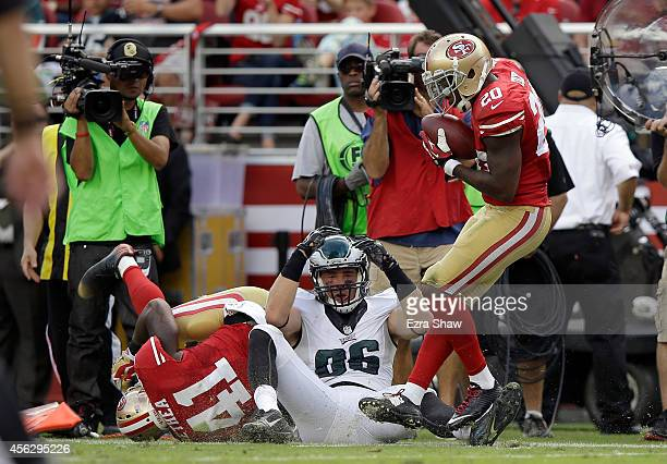 Perrish Cox of the San Francisco 49ers recovers a fumble after Antoine Bethea of the San Francisco 49ers forced Zach Ertz of the Philadelphia Eagles...