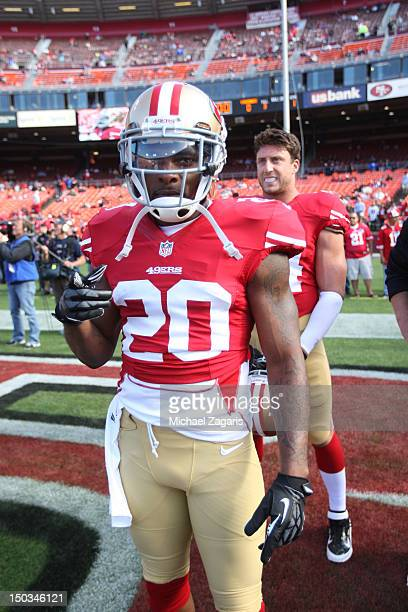 Perrish Cox of the San Francisco 49ers stands on the field prior to the game against the Minnesota Vikings at Candlestick Park on August 10 2012 in...