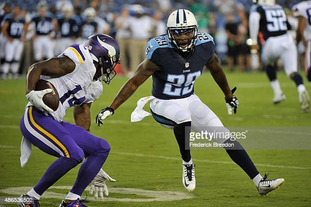 Perrish Cox of the Tennessee Titans plays during a preseason game against the Minnesota Vikings at Nissan Stadium on September 3 2015 in Nashville...