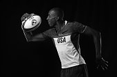 Perry Baker of the USA Rugby Men's Sevens Team poses for a portrait at the Olympic Training Center on July 21 2016 in Chula Vista California