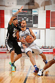 Perry Ellis of the Dallas Mavericks handles the ball against the Milwaukee Bucks during the 2016 Las Vegas Summer League on July 13 2016 at Cox...