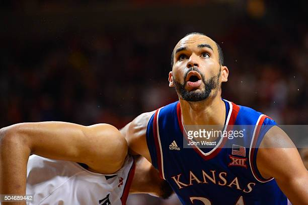 Perry Ellis of the Kansas Jayhawks blocks out during the game against the Kansas Jayhawks on January 09 2016 at United Supermarkets Arena in Lubbock...